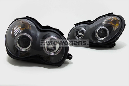 Angel eyes headlights set black Mercedes C Class W203 00-07