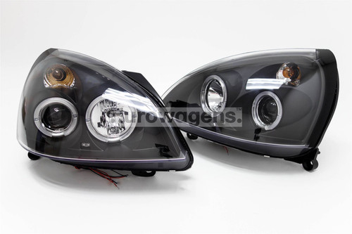 Angel eyes headlights set black Renault Clio MK2 01-04