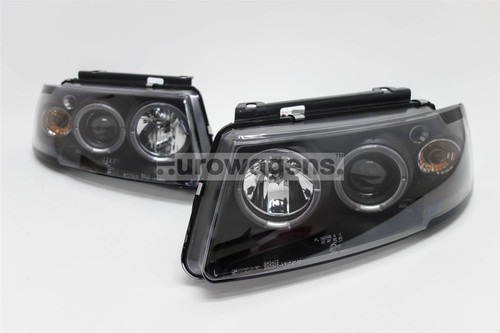 Angel eyes headlights set black inner VW Passat B5 97-00