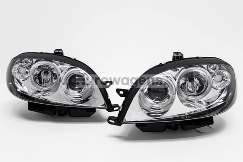 Angel eyes headlights set chrome Citroen Saxo 00-03