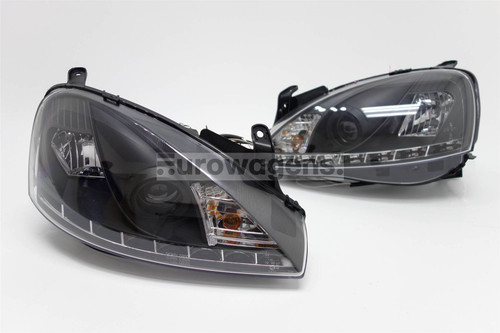 Headlights set black DRL Vauxhall Corsa C 00-06