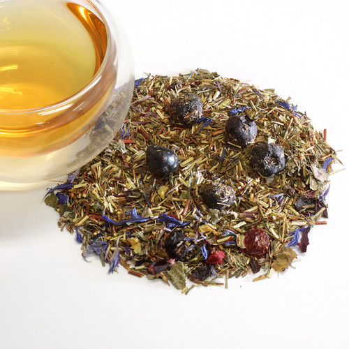 Green Rooibos Blueberry In recent years, blueberries have garnered much attention as a nutrient powerhouse. This may be so, but to us they are delicious little jewels that shine in our lightly fruity, caffeine-free green rooibos. We've added blueberries, cranberries, rosehips, hibiscus and raspberry leaves for a tasty, berry-licious treat.