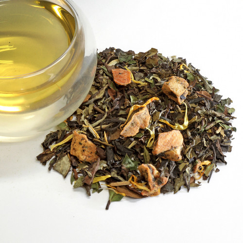 White Peach Loose Leaf Tea Premium white tea from Fujian region of China flavored with sweet peaches. A wonderfully smooth and subtle treat, delectable both hot and cold. If you are beginning your exploration of white tea, our peach tea will serve a wonderful introduction.