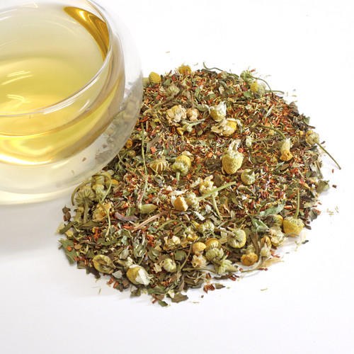 Foxtrot Wellness Herbal Tea Like the dance that inspired its name, our Foxtrot tea is an overnight success that will leave you giddy with joy. It is an herbal cocktail of Egyptian chamomile, South African Rooibos and fresh peppermint leaves. A soothing blend of familiar tastes that produces a pleasantly original combination. It is entirely caffeine-free. The spring in your step is due entirely to its enticing taste.