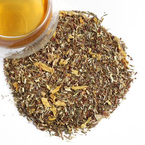 A uniquely flavored green rooibos tea infused with the fruity flavor of the Mirabelle plum with its tart skin and sweet flesh. Inhale the essence of the Mirabelle that is a blend of peach and apricot. Enjoy hot or as a wonderful refreshing iced tea.  2 tsp per cup steep at 212 for 5-8 minutes.