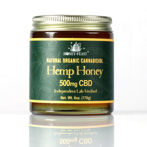 500mg CBD guaranteed.  Verified by independent lab. USDA organic Hemp This is much stronger than Colorado Hemp Honey's Hemp oil products.  Colorado Hemp Honey products contain only 75mg CBD per 6oz.  1 Teaspoon of this honey contains 22mg CBD.