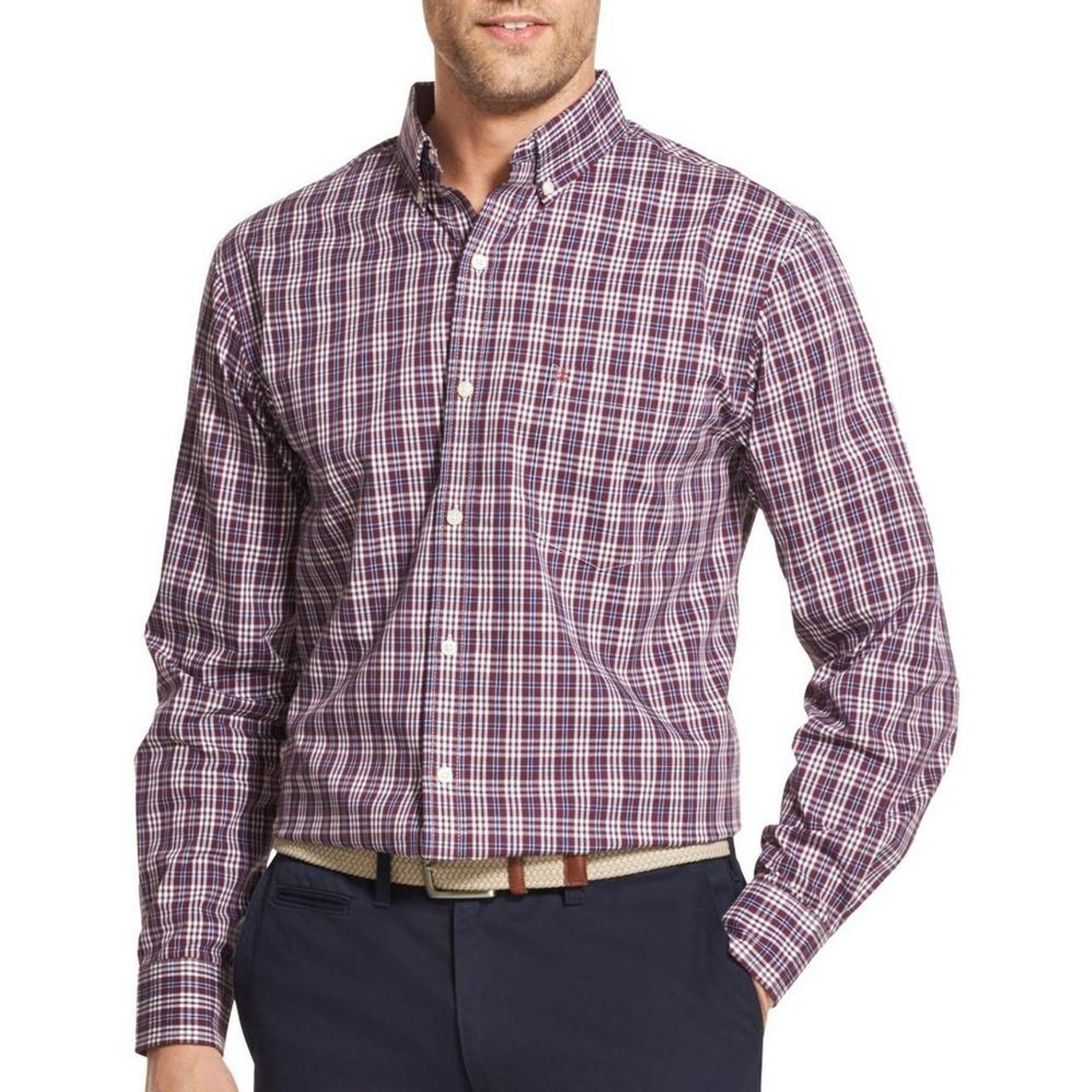 9b10d104861 IZOD Mens Premium Essentials Checkered Plaid Button Up Shirt~45GW004 ...