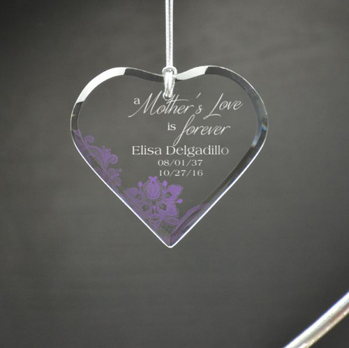 Mothers Love is Forever Personalized Heart Ornament