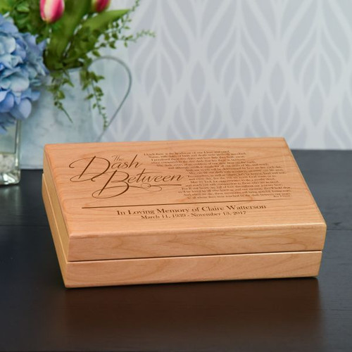 Wooden box features the Dash Between poem and is personalized with name and dates