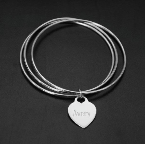 Personalized Sterling Silver Triple Bangle with Heart Charm