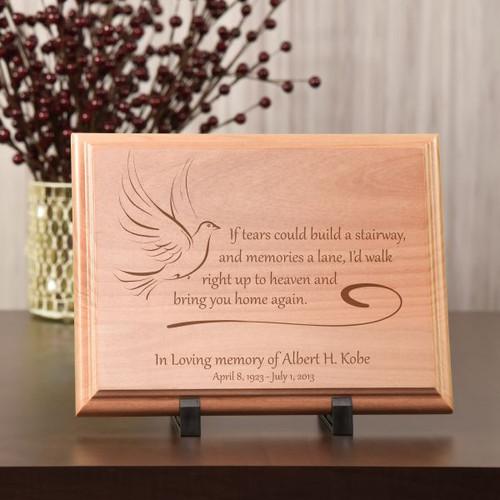 Memorial Wood Plaque With No Tears In Heaven Poem