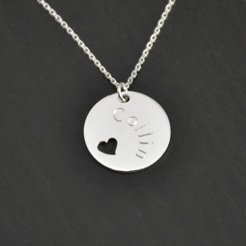 Sterling Silver Pierced Heart Disc Pendant