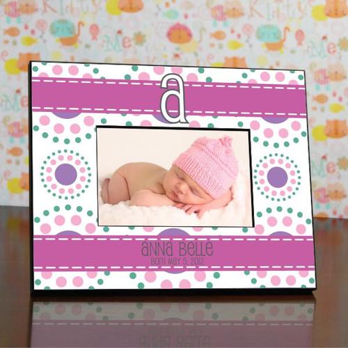 Baby Girl Modern Monogram Personalized Frame