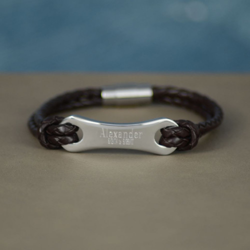Personalized Leather and Stainless Steel Bracelet