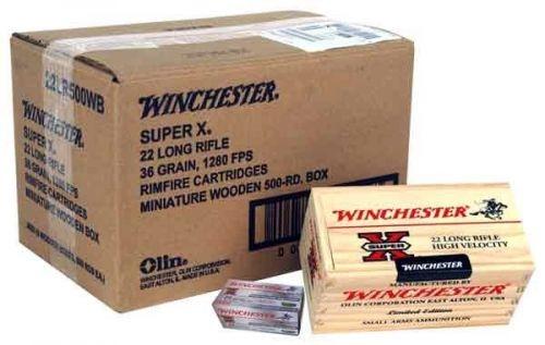 Winchester 22LR Ammunition Wooden Box 22LR500WB 36 Grain Hollow Point 500 rounds