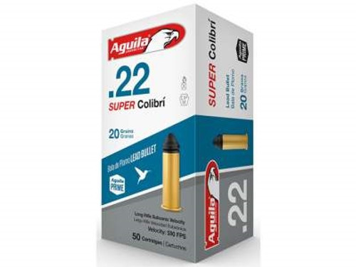 Aguila 22LR Ammunition Quiet Super Colibri Not for Semi-Auto 20 Grain Lead Round Nose 50 rounds