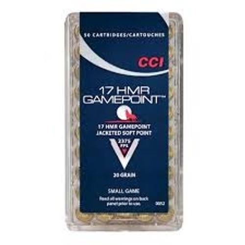 CCI 17 HMR GAMEPOINT CCI0052 20gr JSP 50 rounds