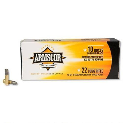 Armscor 22 LR Ammunition ARM22LRSP 40 Grain Lead Solid Point Brick of 500 Rounds