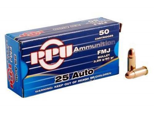 Prvi PPU 25 ACP Ammunition PPR21 50 Grain Full Metal Jacket CASE 1000 rounds