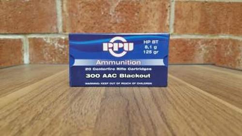 Prvi PPU 300 AAC Blackout Ammunition PP301 125 Grain Hollow Point Boat Tail 20 Rounds