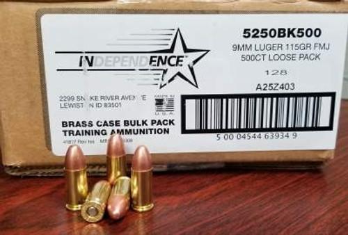 Federal 9mm Ammunition Independence IND 5250BK500 115 Grain Full Metal Jacket Loose 500 Rounds