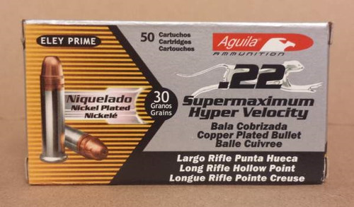 Aguila 22LR Ammunition 1B222294 Supermaximum Hyper Velocity  30 Grain Copper Plated Hollow Point Nickel Plated Brass 50 rounds