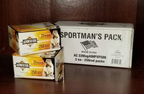 Armscor 22 Magnum Ammunition Sportman's Pack FAC22MAG40HPVP500 40 Grain Jacketed Hollow Point 500 Rounds