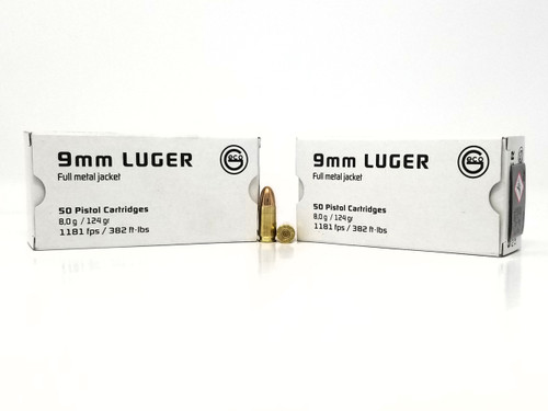 Geco 9mm Ammunition 220340050 124 Grain Full Metal Jacket Case of 1000 Rounds
