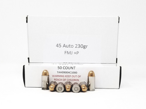 Ammotech 45 Auto +P Ammunition 230 Grain Full Metal Jacket Nickel Plated Brass Case of 1000 Rounds