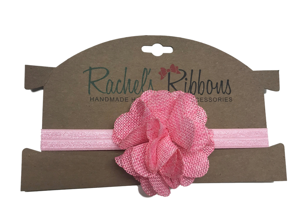 """The stylish color palette makes this a welcome addition to any outfit.  Our soft and subtle Burlap Flower is attached to a 5/8"""" width Satin Stretch Headband.  Overall width is approximately 6"""", comfortably stretches to approximately 9"""".  Flower and headband match, unless otherwise requested.  Perfect for newborn through toddler."""
