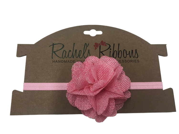Skinny Stretch Headband w/ Soft Burlap