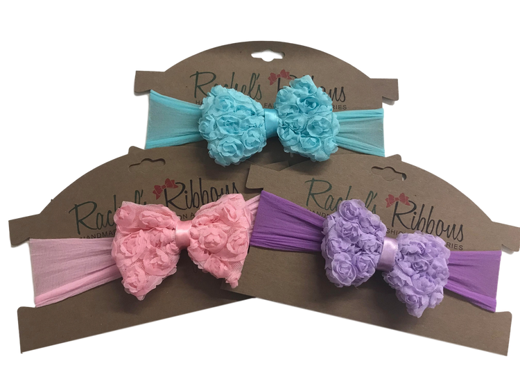Sheer Headband w/ Shabby Rose Bow
