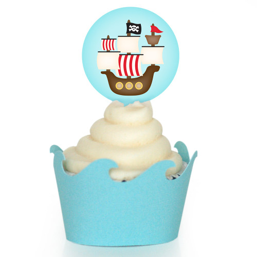 Pirate Cupcake Wrapper: Ship on Waves
