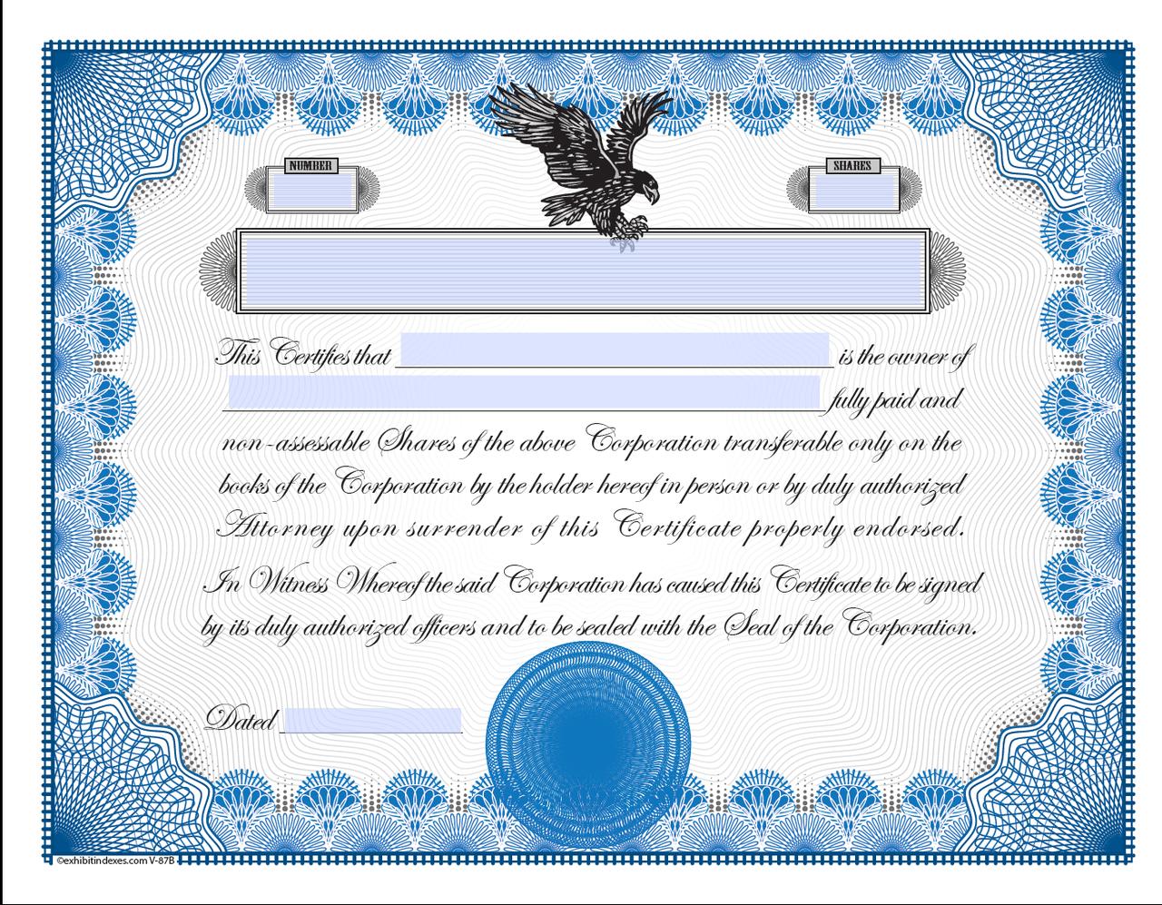 Printable Stock Certificates Exhibitindexes