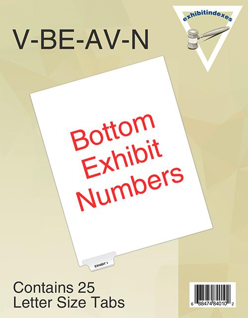 Avery Type Style bottom Exhibit tabs, numerical