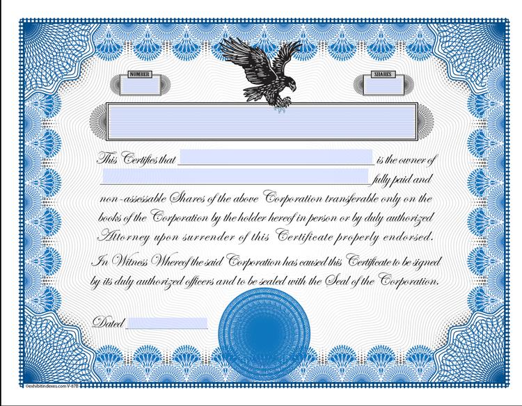 corporate bond certificate template - printable stock certificates
