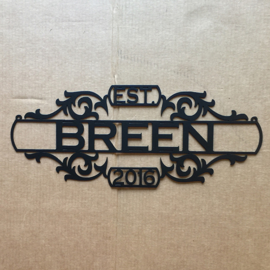 Metal Personalized Family Name Sign, Established Sign (P15)