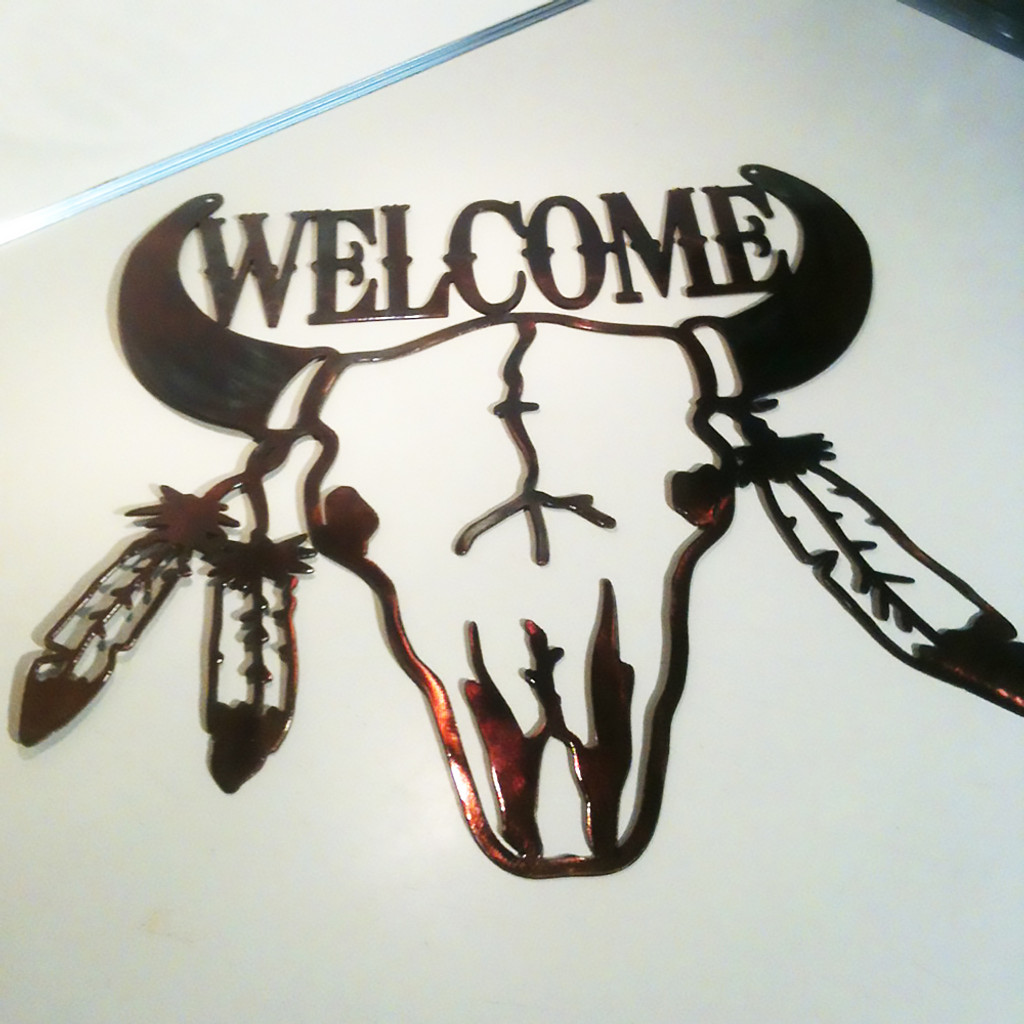 Bull Skull with Feathers Welcome Sign (C13)