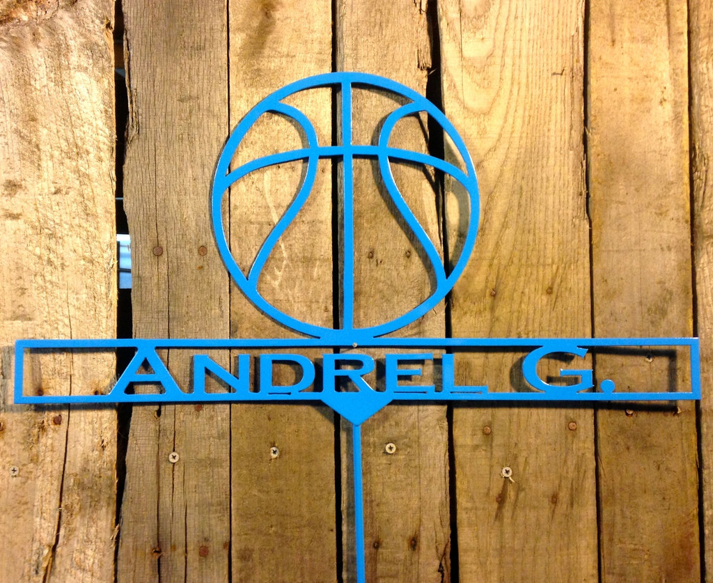 Basketball garden stake with personalized text box.
