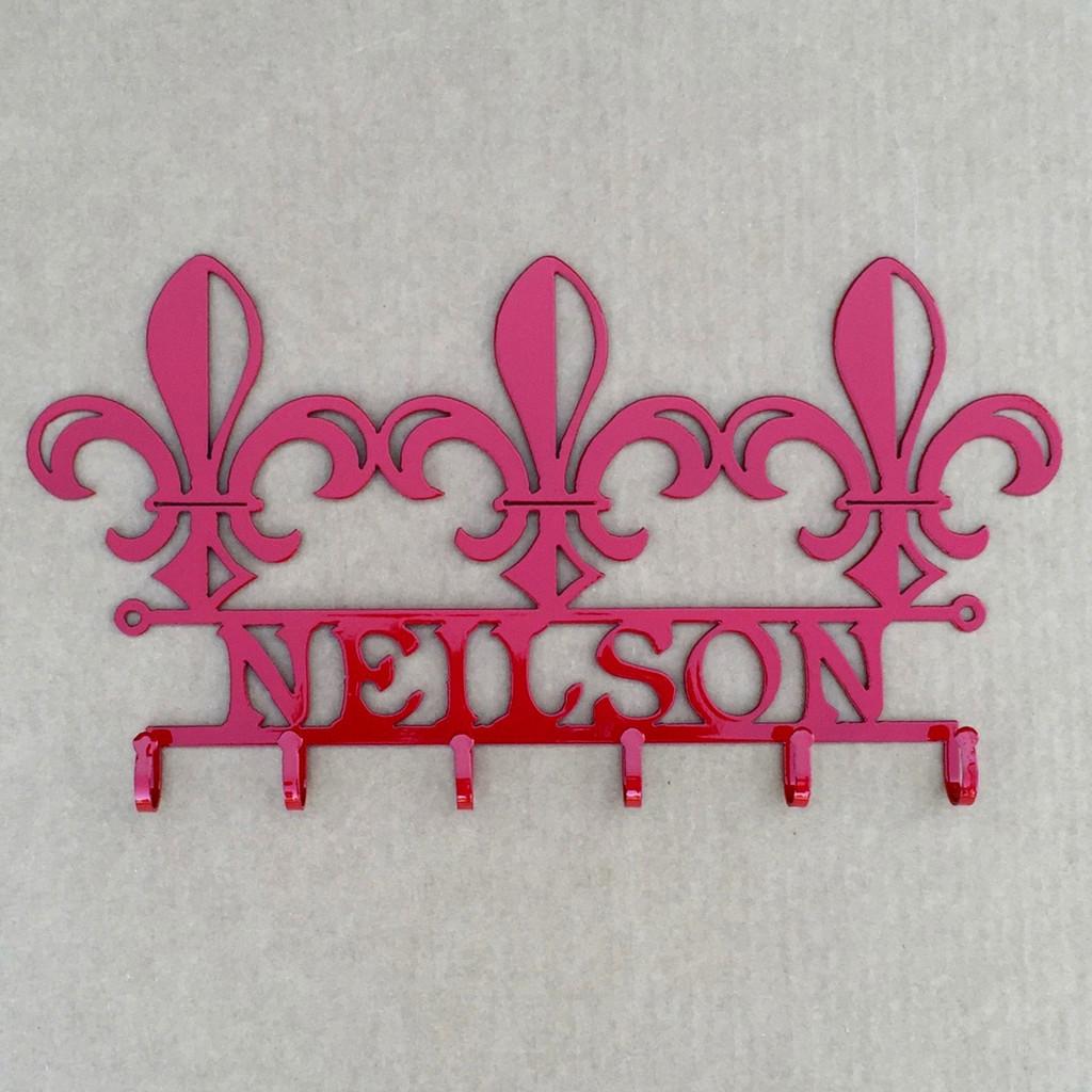 Fleur De Lis  Key Holder with Custom Text Field (Y14)