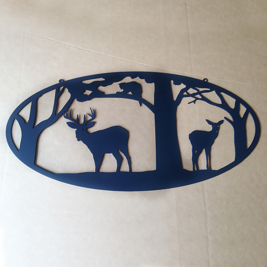 Deer with Trees and Coon Metal Wall Art (N4)