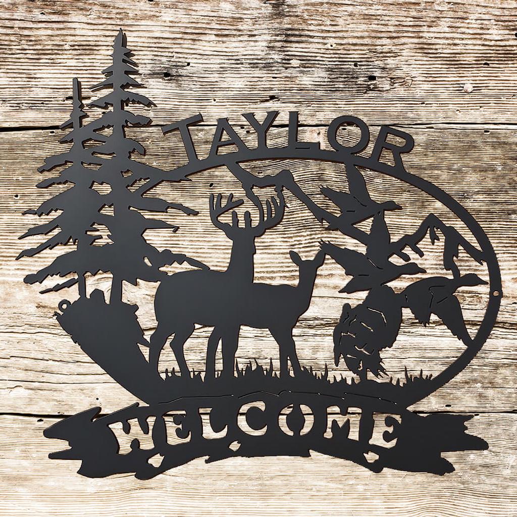 Outdoor Scene with Deer, Ducks, Turkey, and Custom Text (B26)