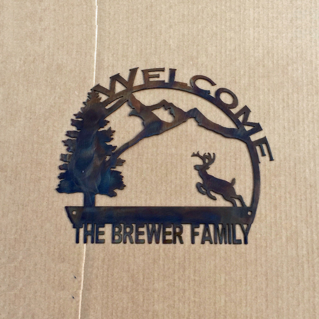 Welcome Sign with Running Deer and Custom Text Field (K8)