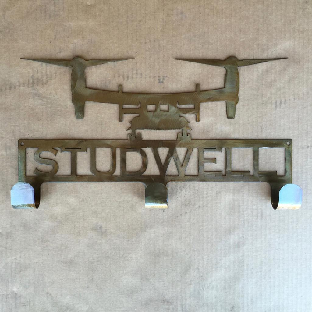Hat / Coat Rack with V22 Osprey and Personalized Text Field 3 Hooks (M25)