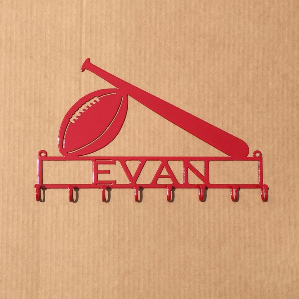 Football/Baseball Personalized Text Box and 8 Hooks