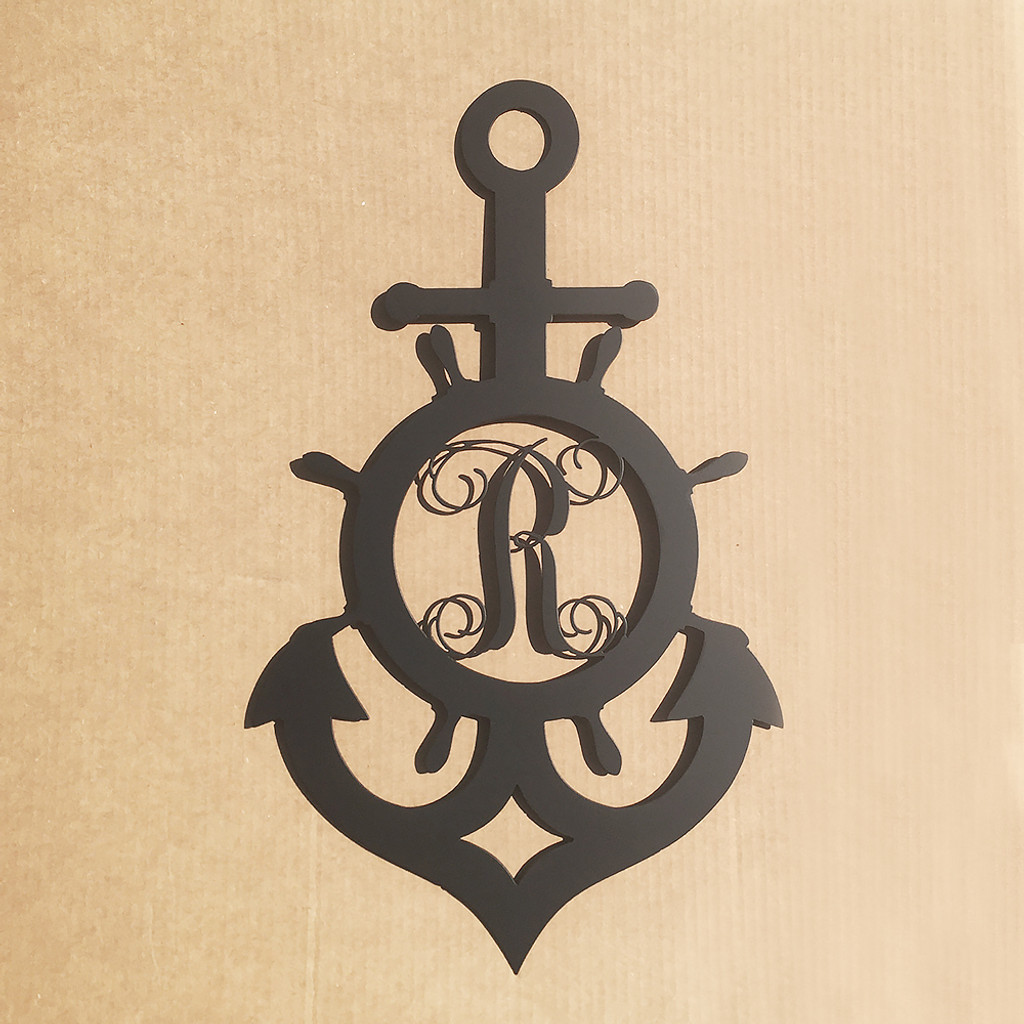 Ships Wheel And Anchor With Vine Monogram By Rusty Rooster ...