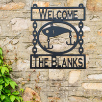 Metal Wall Art Fishing Lure with Custom Text Fields (T20)