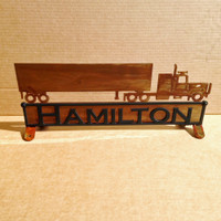 Mail Box Topper with Tractor & Trailer and Personalized Text on Both Sides  (Y24)