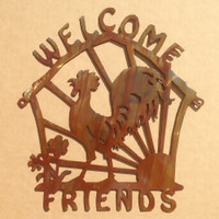 Metal Welcome Friends Sign with Rooster (D4)
