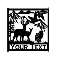 Buck and Doe with Turkey Mountains Trees  and Custom Text Field (M10)